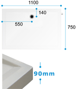 Dimensions for Dipper Shower Tray