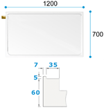 Dimensions for The Dove Shower Tray