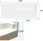 Dimensions for Kittiwake Step in shower tray