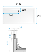 Dimensions for Swift Alcove shower tray