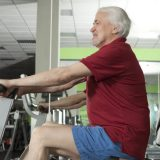 elderly gym goer
