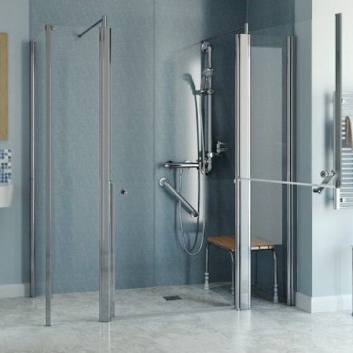 corner easy access shower larenco glass screen